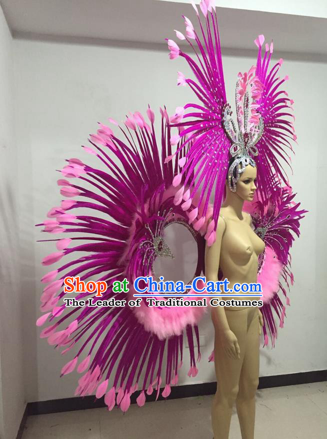 Top Grade Professional Stage Show Giant Headpiece Parade Hair Accessories Backboard Decorations, Brazilian Rio Carnival Samba Opening Dance Rosy Feather Headdress for Women
