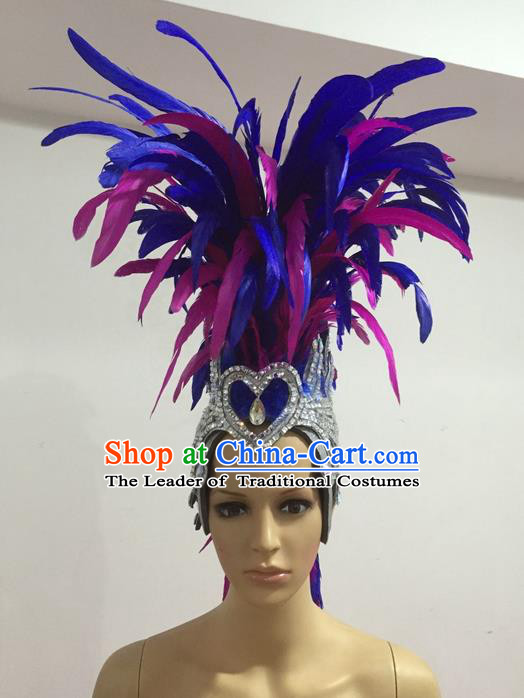 Top Grade Professional Stage Show Giant Headpiece Parade Hair Accessories Decorations, Brazilian Rio Carnival Samba Opening Dance Blue Feather Hats for Women