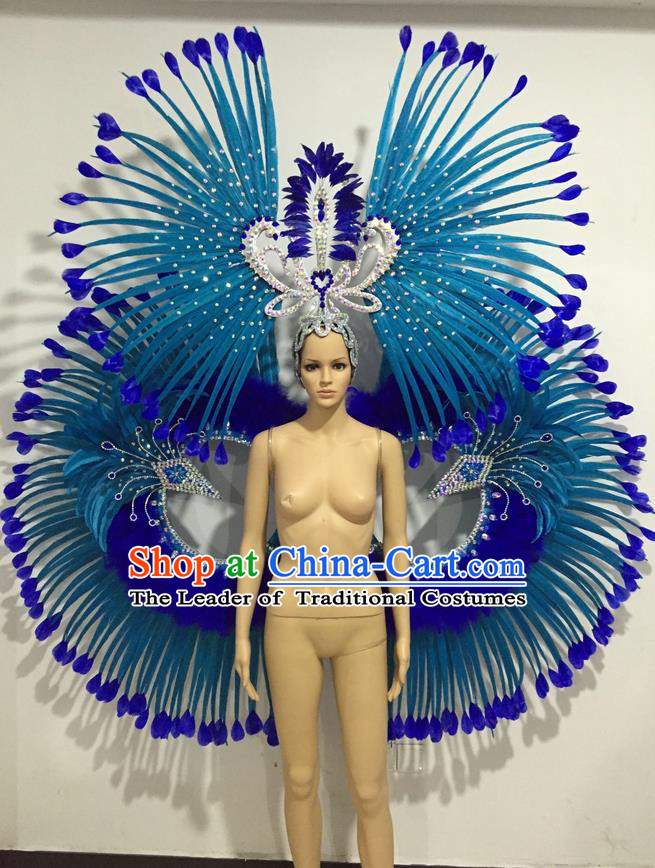 Top Grade Professional Performance Catwalks Blue Feather Props and Headpiece, Traditional Brazilian Rio Carnival Samba Opening Dance Modern Fancywork Backboard for Women