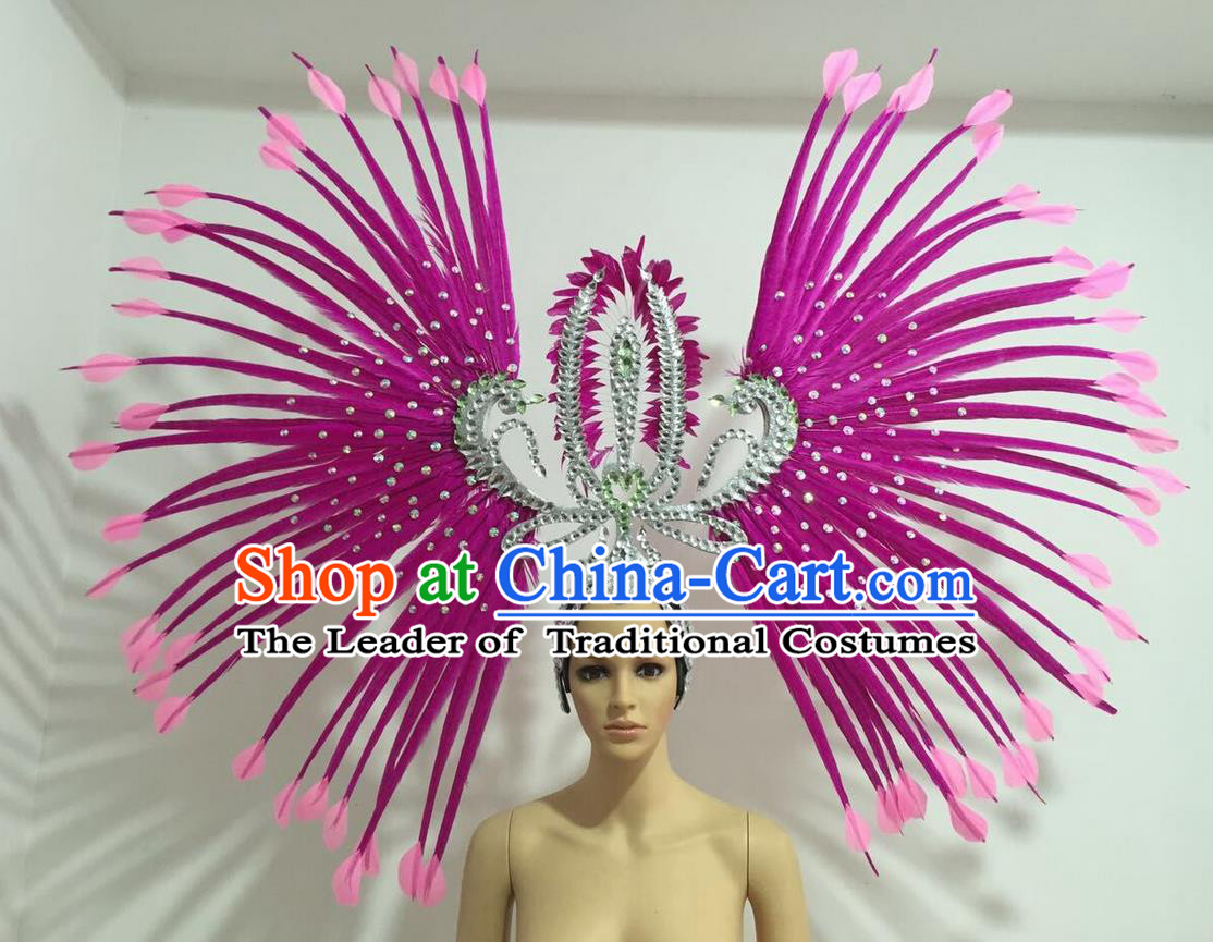 Top Grade Professional Stage Show Giant Headpiece Parade Hair Accessories Decorations, Brazilian Rio Carnival Samba Opening Dance Rosy Feather Headdress for Women