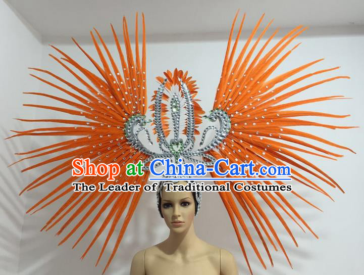 Top Grade Professional Stage Show Giant Headpiece Parade Hair Accessories Decorations, Brazilian Rio Carnival Samba Opening Dance Orange Feather Headdress for Women