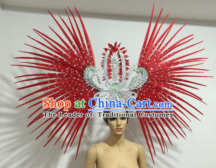 Top Grade Professional Stage Show Giant Headpiece Parade Hair Accessories Decorations, Brazilian Rio Carnival Samba Opening Dance Red Feather Headdress for Women
