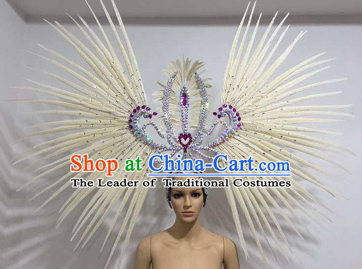 Top Grade Professional Stage Show Giant Headpiece Parade Hair Accessories Decorations, Brazilian Rio Carnival Samba Opening Dance White Feather Headdress for Women