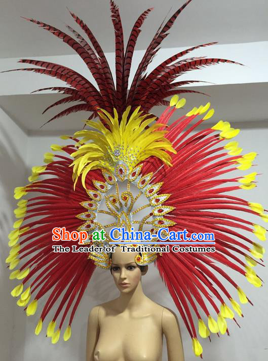 Top Grade Professional Stage Show Big Hair Accessories Decorations, Brazilian Rio Carnival Samba Opening Dance Red Feather Headpiece for Women