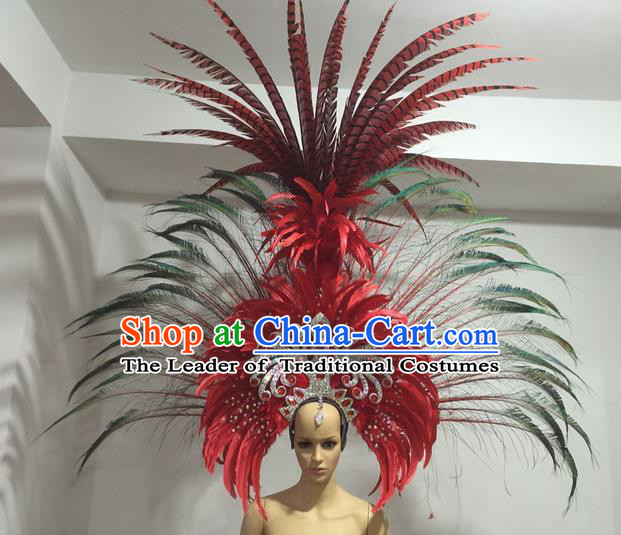 Top Grade Professional Stage Show Giant Headpiece Parade Hair Accessories Deluxe Decorations, Brazilian Rio Carnival Samba Opening Dance Red Feather Hats for Women