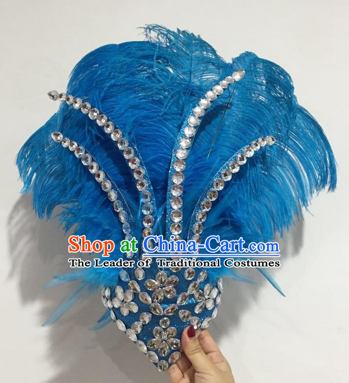 Top Grade Professional Stage Show Halloween Hair Accessories Decorations, Brazilian Rio Carnival Parade Samba Opening Dance Blue Feather Headpiece for Women