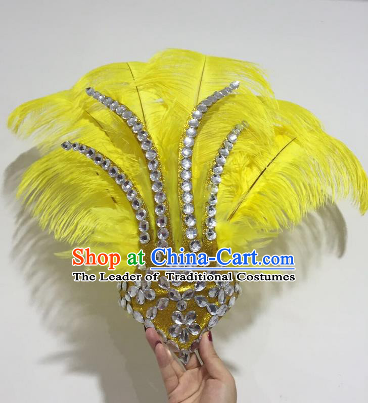 Top Grade Professional Stage Show Halloween Hair Accessories Decorations, Brazilian Rio Carnival Parade Samba Opening Dance Yellow Feather Headpiece for Women