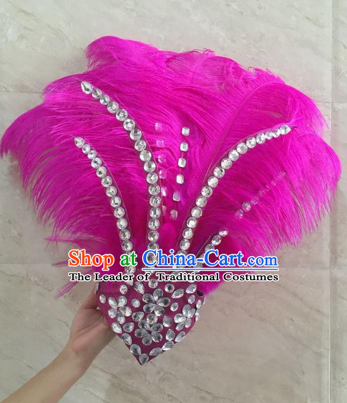 Top Grade Professional Stage Show Halloween Hair Accessories Decorations, Brazilian Rio Carnival Parade Samba Opening Dance Pink Feather Headpiece for Women