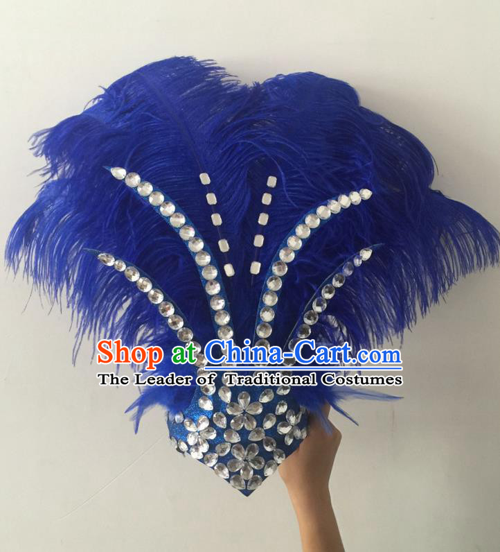 Top Grade Professional Stage Show Halloween Hair Accessories Decorations, Brazilian Rio Carnival Parade Samba Opening Dance Royalblue Feather Headpiece for Women