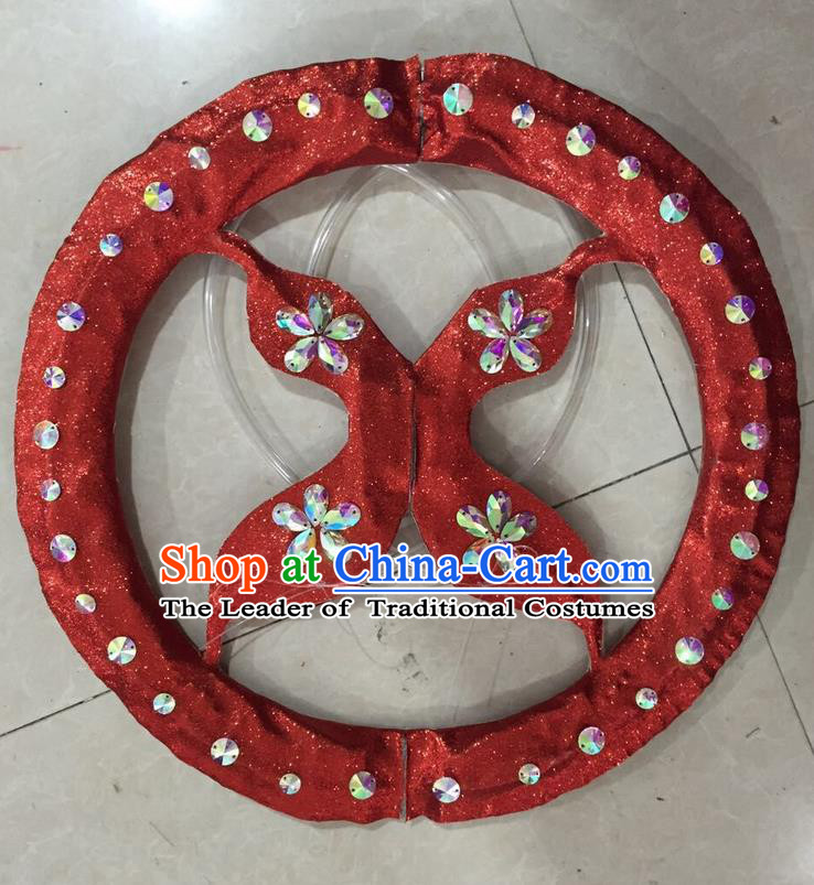 Top Grade Professional Stage Show Halloween Props Decorations, Brazilian Rio Carnival Parade Samba Opening Dance Red Round Backplane for Women