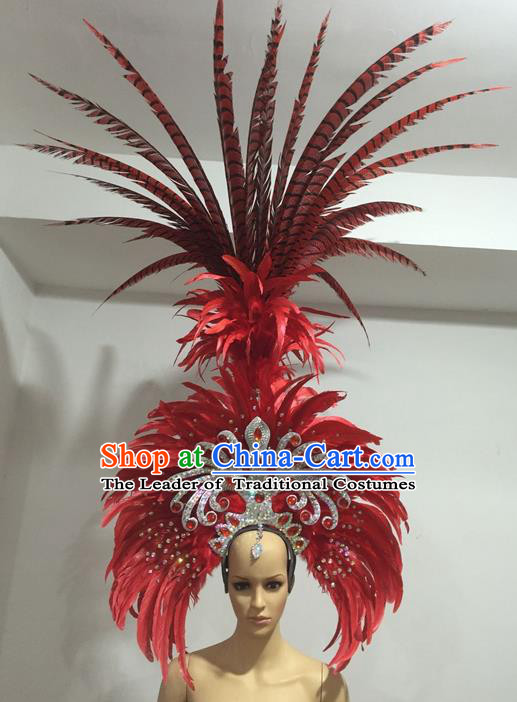Top Grade Professional Stage Show Giant Headpiece Parade Hair Accessories Deluxe Decorations, Brazilian Rio Carnival Samba Opening Dance Red Feather Headwear for Women