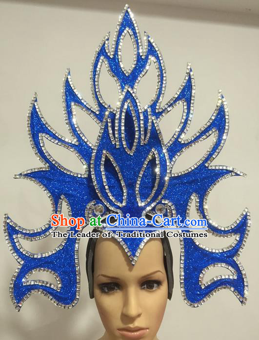 Top Grade Professional Stage Show Giant Headpiece Parade Hair Accessories Decorations, Brazilian Rio Carnival Samba Opening Dance Blue Headwear for Women