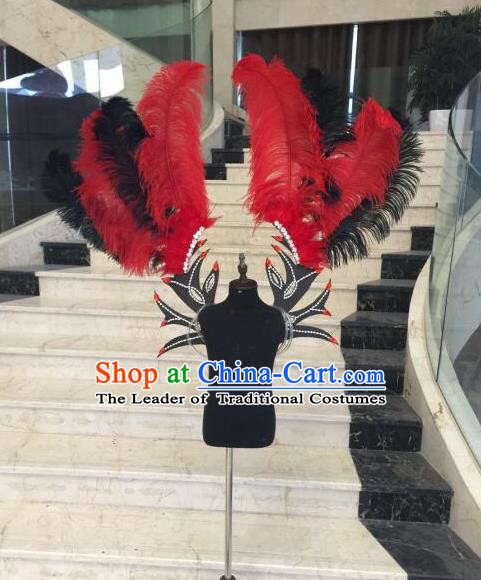 Top Grade Professional Stage Show Halloween Props Red Feather Wings, Brazilian Rio Carnival Parade Samba Dance Modern Fancywork Backplane for Kids