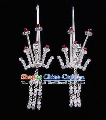 Chinese Ancient Peking Opera Hair Accessories Young Lady Phoenix Tassel Headwear, Traditional Chinese Beijing Opera Head Ornaments Hua Tan Crystal Red Hairpins