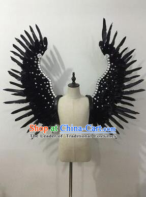 Top Grade Professional Stage Show Halloween Props Black Feather Wings, Brazilian Rio Carnival Parade Samba Dance Modern Fancywork Backplane for Kids