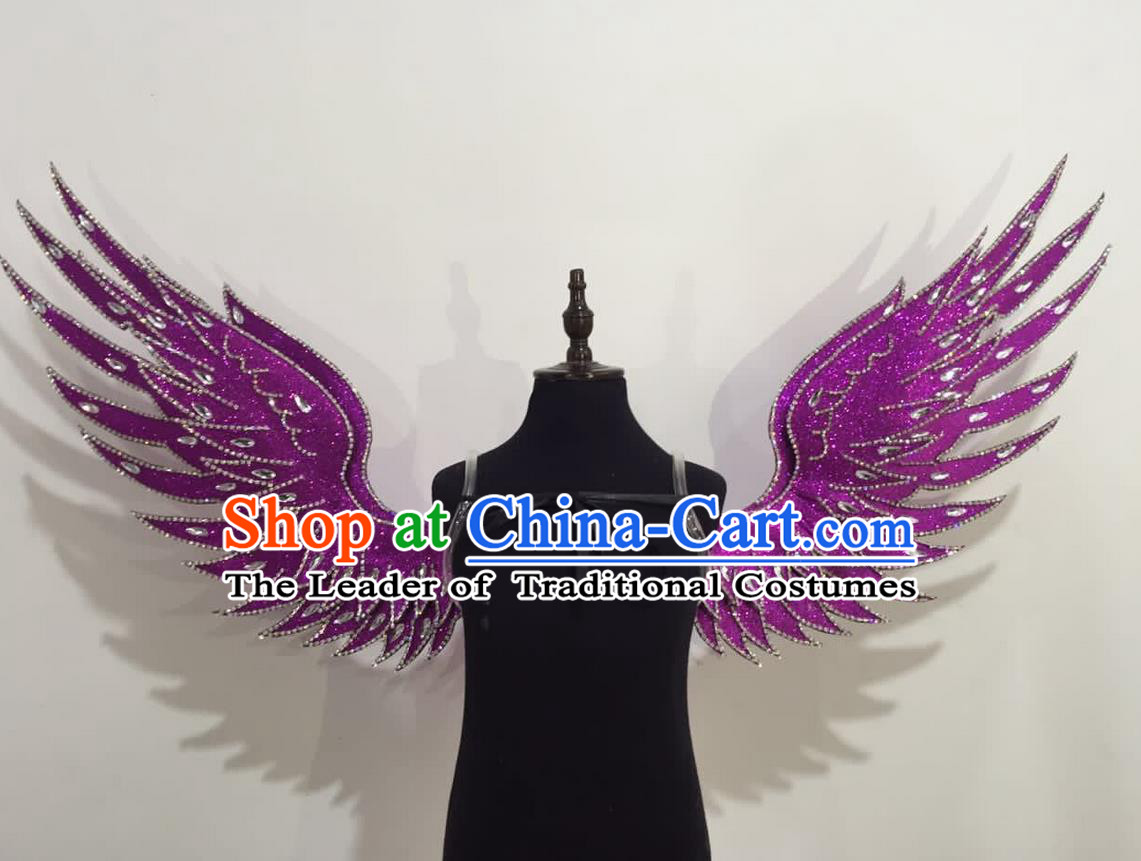 Top Grade Professional Stage Show Halloween Props Purple Wings, Brazilian Rio Carnival Parade Samba Dance Modern Fancywork Backplane for Kids