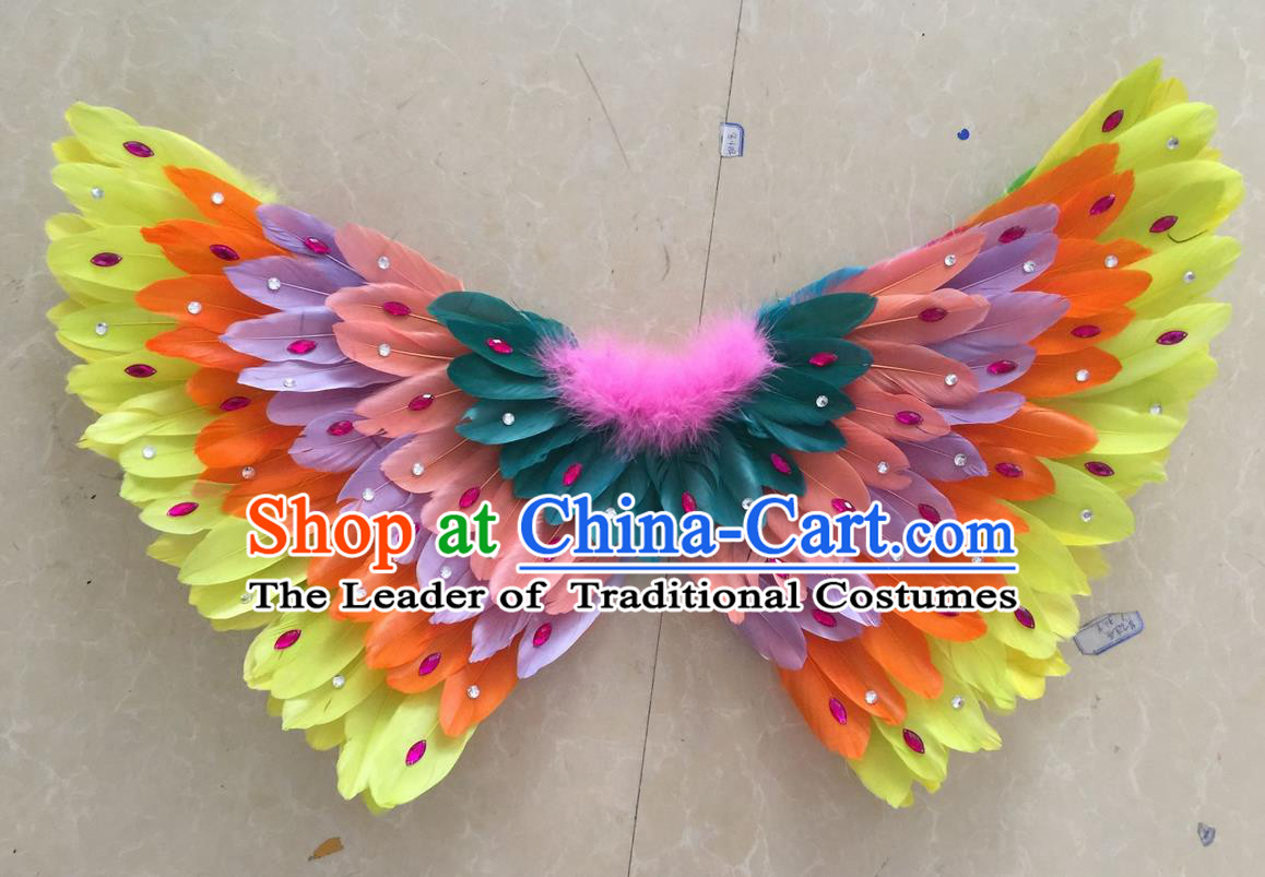 Top Grade Professional Stage Show Halloween Props Feather Wings, Brazilian Rio Carnival Parade Samba Dance Modern Fancywork Butterfly Backplane for Kids