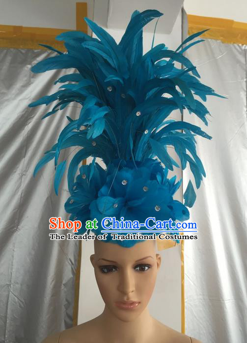 Top Grade Professional Stage Show Halloween Halloween Hair Accessories Decorations, Brazilian Rio Carnival Parade Samba Dance Modern Fancywork Blue Feather Headpiece for Kids