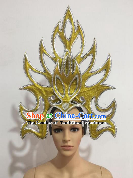 Top Grade Professional Stage Show Giant Headpiece Parade Hair Accessories Decorations, Brazilian Rio Carnival Samba Opening Dance Golden Headwear for Women