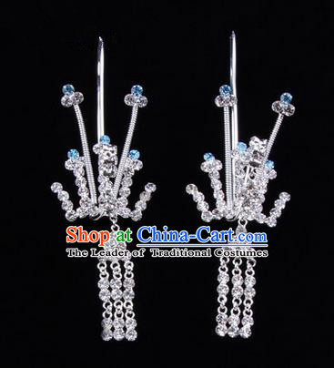 Chinese Ancient Peking Opera Hair Accessories Young Lady Phoenix Tassel Headwear, Traditional Chinese Beijing Opera Head Ornaments Hua Tan Crystal Blue Hairpins