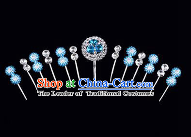 Chinese Ancient Peking Opera Hair Accessories Young Lady Headwear Complete Set, Traditional Chinese Beijing Opera Head Ornaments Hua Tan Crystal Blue Hairpins