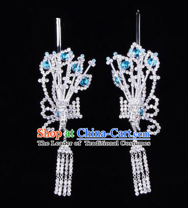 Chinese Ancient Peking Opera Hair Accessories Young Lady Diva Blue Phoenix Headwear, Traditional Chinese Beijing Opera Head Ornaments Hua Tan Crystal Hairpins