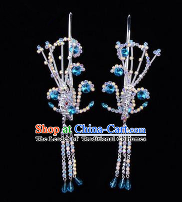 Chinese Ancient Peking Opera Hair Accessories Young Lady Diva Blue Phoenix Headwear, Traditional Chinese Beijing Opera Head Ornaments Hua Tan Colorful Crystal Hairpins