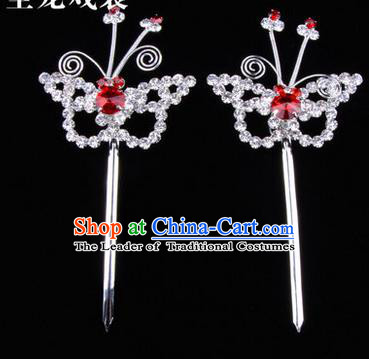 Chinese Ancient Peking Opera Hair Accessories Young Lady Diva Butterfly Headwear, Traditional Chinese Beijing Opera Head Ornaments Hua Tan Red Crystal Hairpins