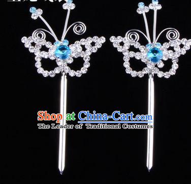 Chinese Ancient Peking Opera Hair Accessories Young Lady Diva Butterfly Headwear, Traditional Chinese Beijing Opera Head Ornaments Hua Tan Blue Crystal Hairpins