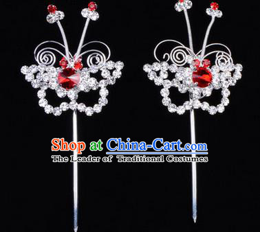 Chinese Ancient Peking Opera Hair Accessories Young Lady Diva Butterfly Red Headwear, Traditional Chinese Beijing Opera Head Ornaments Hua Tan Crystal Hairpins