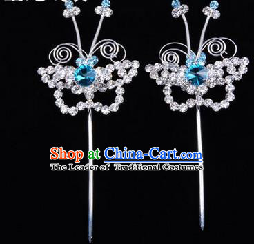 Chinese Ancient Peking Opera Hair Accessories Young Lady Diva Butterfly Blue Headwear, Traditional Chinese Beijing Opera Head Ornaments Hua Tan Crystal Hairpins