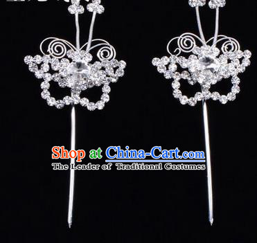 Chinese Ancient Peking Opera Hair Accessories Young Lady Diva Butterfly White Headwear, Traditional Chinese Beijing Opera Head Ornaments Hua Tan Crystal Hairpins