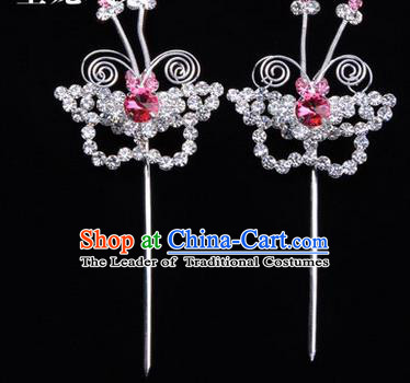 Chinese Ancient Peking Opera Hair Accessories Young Lady Diva Butterfly Pink Headwear, Traditional Chinese Beijing Opera Head Ornaments Hua Tan Crystal Hairpins