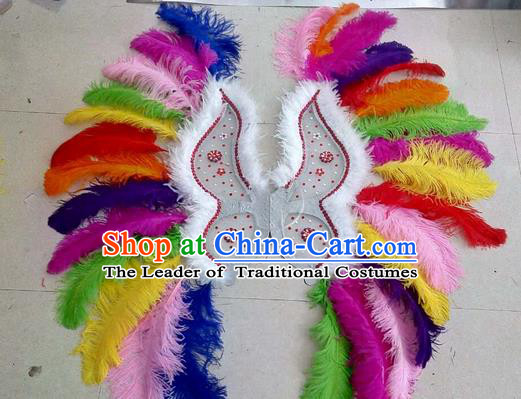 Top Grade Professional Stage Show Halloween Props Decorations Wings, Brazilian Rio Carnival Parade Samba Dance Colorful Feather Catwalks Backplane for Women