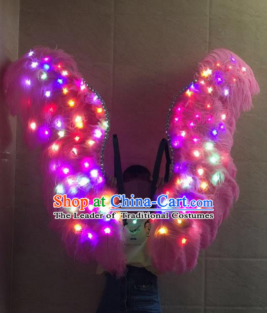 Top Grade Professional Stage Show Halloween Props Decorations Led Light Wings, Brazilian Rio Carnival Parade Samba Dance Catwalks Pink Feather Backplane for Women