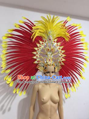 Top Grade Professional Stage Show Halloween Parade Big Hair Accessories, Brazilian Rio Carnival Parade Samba Dance Catwalks Feather Headpiece for Women