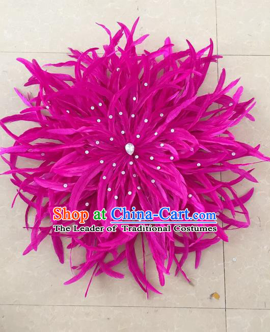 Top Grade Professional Stage Show Halloween Parade Rosy Feather Hair Accessories, Brazilian Rio Carnival Parade Samba Dance Catwalks Headpiece for Women