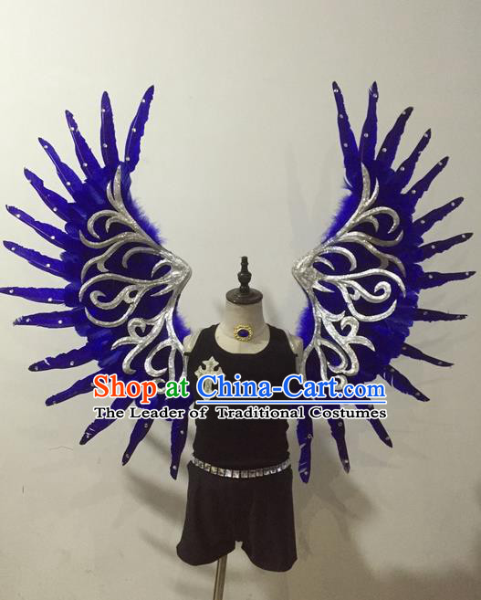 Top Grade Professional Stage Show Halloween Parade Props Decorations Wings, Brazilian Rio Carnival Parade Samba Dance Blue Wings for Kids