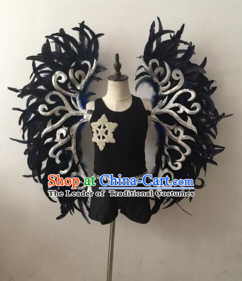 Top Grade Professional Stage Show Halloween Parade Props Decorations Wings, Brazilian Rio Carnival Parade Samba Dance Black Feather Backplane for Kids