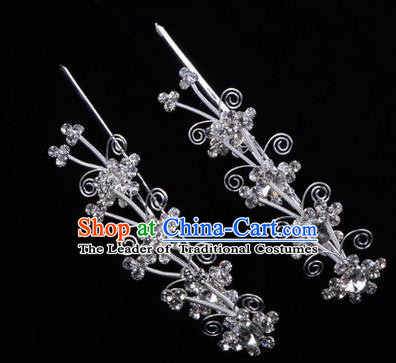 Chinese Ancient Peking Opera Hair Accessories Young Lady Diva Butterfly Head Ornaments, Traditional Chinese Beijing Opera Hua Tan White Crystal Hairpins