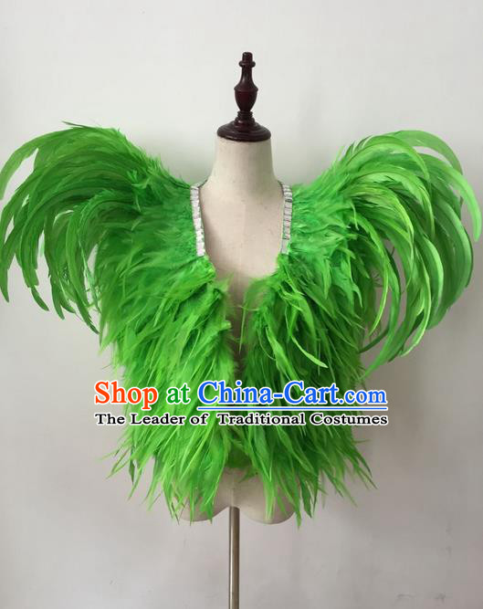 Top Grade Professional Stage Show Halloween Parade Costumes, Brazilian Rio Carnival Parade Samba Dance Catwalks Green Feather Clothing for Kids