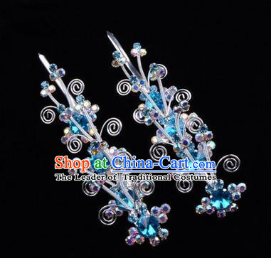 Chinese Ancient Peking Opera Hair Accessories Young Lady Diva Butterfly Head Ornaments, Traditional Chinese Beijing Opera Hua Tan Colorful Crystal Blue Hairpins