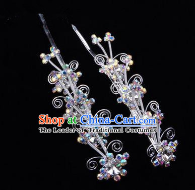 Chinese Ancient Peking Opera Hair Accessories Young Lady Diva Butterfly Head Ornaments, Traditional Chinese Beijing Opera Hua Tan Colorful Crystal White Hairpins