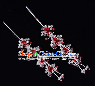 Chinese Ancient Peking Opera Hair Accessories Young Lady Diva Head Ornaments, Traditional Chinese Beijing Opera Hua Tan Red Crystal Hairpins