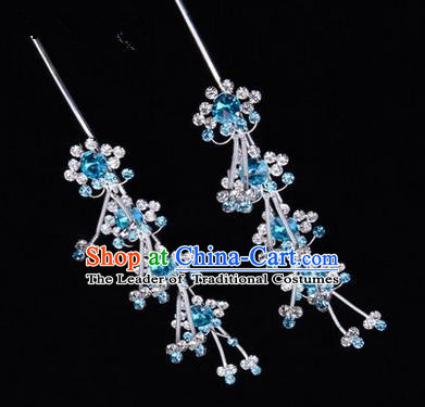 Chinese Ancient Peking Opera Hair Accessories Young Lady Diva Head Ornaments, Traditional Chinese Beijing Opera Hua Tan Blue Crystal Hairpins