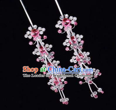 Chinese Ancient Peking Opera Hair Accessories Young Lady Diva Head Ornaments, Traditional Chinese Beijing Opera Hua Tan Pink Crystal Hairpins