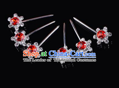 Chinese Ancient Peking Opera Hair Accessories Young Lady Diva Head Ornaments, Traditional Chinese Beijing Opera Hua Tan Red Crystal Bead Hairpins