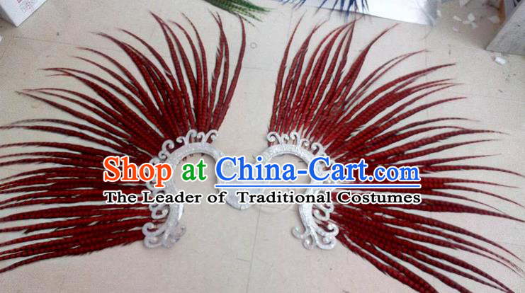 Top Grade Professional Stage Show Halloween Props Decorations, Brazilian Rio Carnival Parade Samba Dance Red Feather Catwalks Backplane for Women