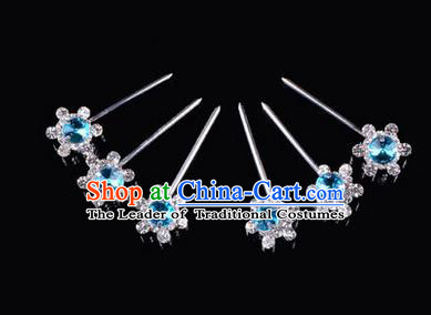 Chinese Ancient Peking Opera Hair Accessories Young Lady Diva Head Ornaments, Traditional Chinese Beijing Opera Hua Tan Blue Crystal Bead Hairpins
