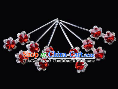 Chinese Ancient Peking Opera Hair Accessories Young Lady Diva Head Ornaments, Traditional Chinese Beijing Opera Hua Tan Red Crystal Double Bead Hairpins
